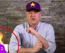 Domínguez Brito quema una gorra del PLD en spot publicitario
