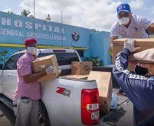 PRM y Abinader entregan alimentos y productos desinfectantes en asilo y Hospital de Montellanos